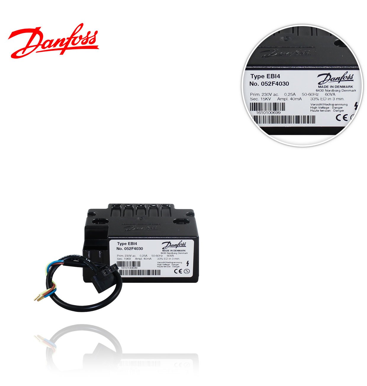 052F0030 / 052F4030 EBI4 TRANSFORMADOR DANFOSS con cable
