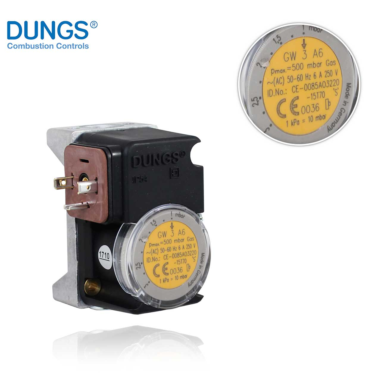 GW   3 A6  (A4)  1 - 3.0mbar. PRESSURE SWITCH DUNGS